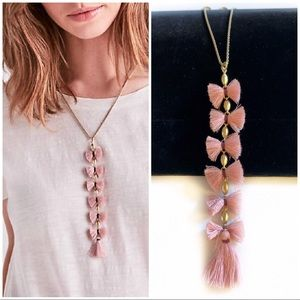 Lucky Brand Pink Tassel Necklace Gold Chain